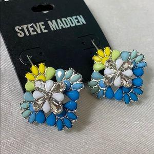 New Steve Madden multicolor flower crystal earrin